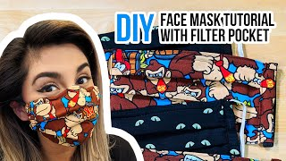 How To Make a FACE MASK With A Filter Pocket   DIY Sewing Tutorial #FaceMask