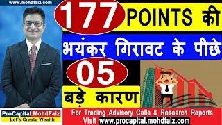 177 POINTS की भयंकर गिरावट के पीछे 05 बड़े कारण | Latest Share Market News | Latest Stock Market News