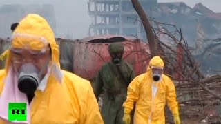 RAW: Post-apocalyptic scenes in core blast area at Tianjin, China