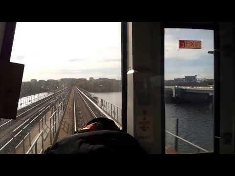 Washington DC Metro Yellow Line, engineer's view crossing the Potomac toward the Pentagon