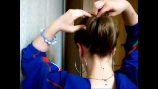 Прическа пучок для волос средней длины