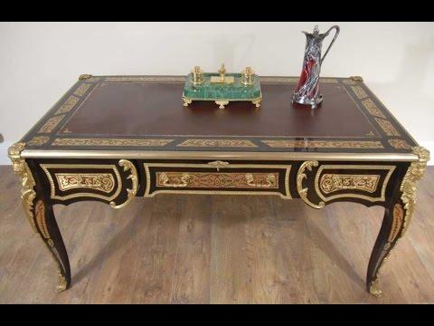 Boulle Writing Desk Bureau Plat Table French Louis XV YouTube