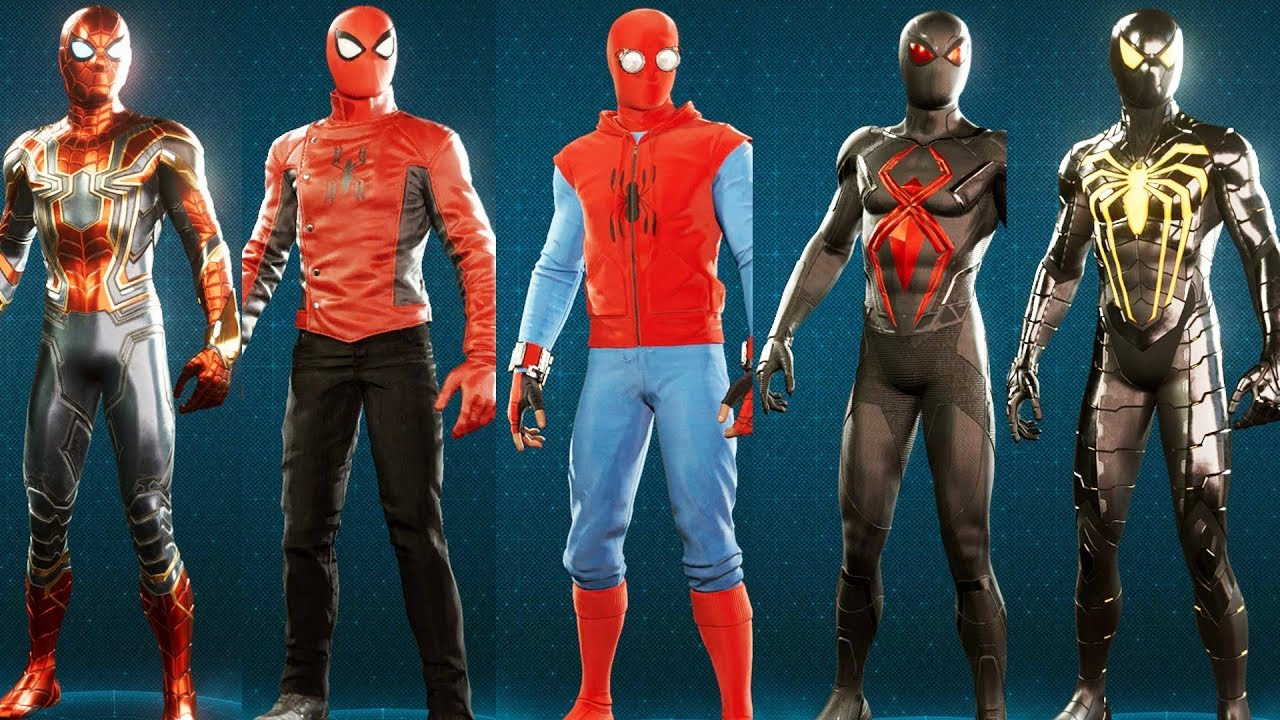 spider-man ps4 - all suits/costumes purchased - youtube