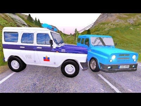 Русские машины УАЗ Хантер и Гаишники устроили погоню в игре BeamNG.Drive - Игры про машины на пк