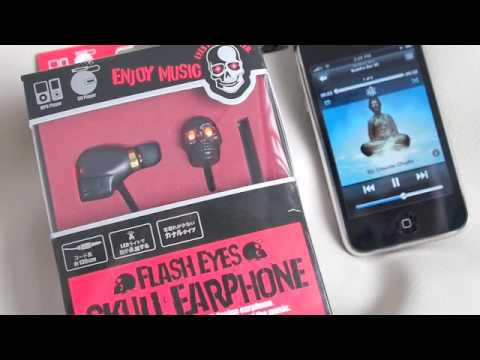 Skull headphone, eyes flash with music