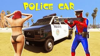 Policeman and Police car with Spiderman colors w/ Nursery Rhymes Kids Songs