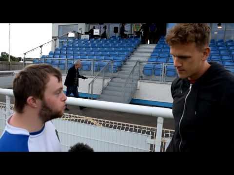Penrith mascot Bradley Hodgson interviews Tom Miller