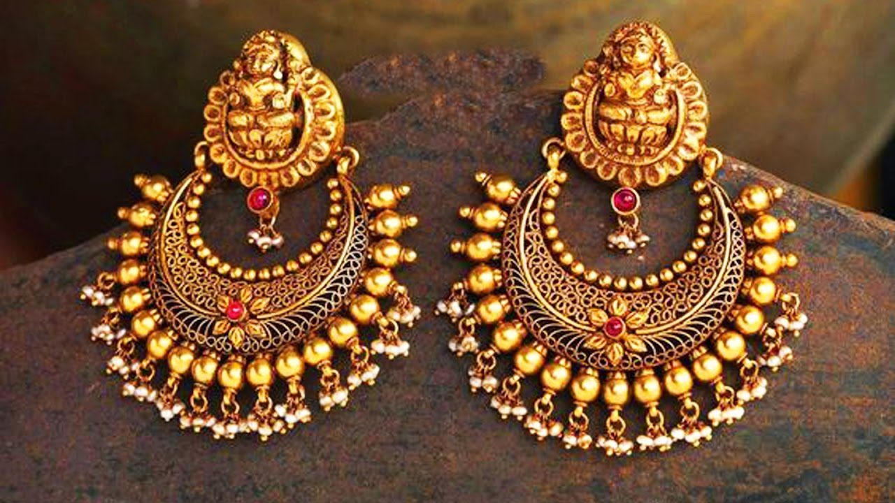 22 k gold chandbali earrings designs youtube