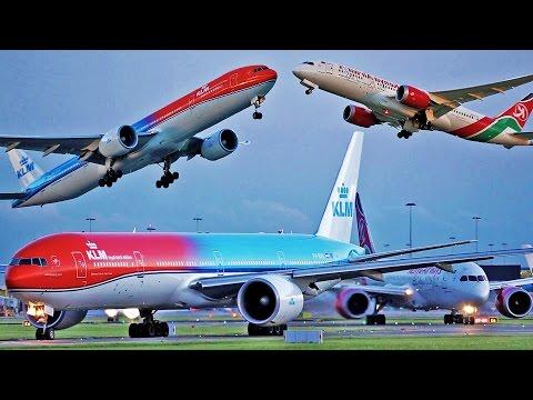KLM B777 #OrangePride + Kenya B787 takeoff [multiple angles]
