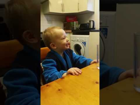 Teaching my 2 year old to gargle. So funny