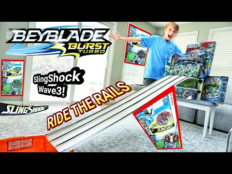 Beyblade Burst Race Track Battles in Real Rail Riding Stadium - Hasbro SlingShock