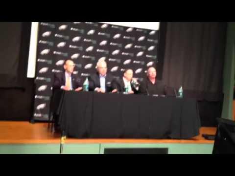 Eagles owner Jeffrey Lurie addresses the media