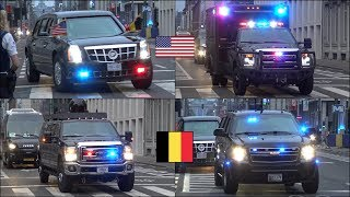 President Trump Security motorcade escorted by Belgian Police