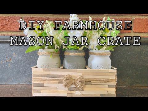 DIY farmhouse mason jar crate