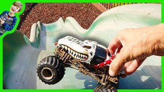 Monster Trucks For Children Playing Toy Hide and Seek at the Park