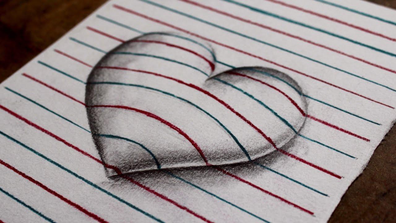 Como Desenhar Um Coração 3d Estilo Folha De Caderno Atevaldo Novais