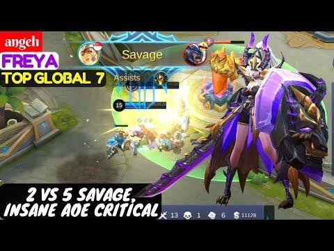 2 Vs 5 Savage, Insane AOE Critical [Top Global 7 Freya] | angel1 Freya Mobile Legends