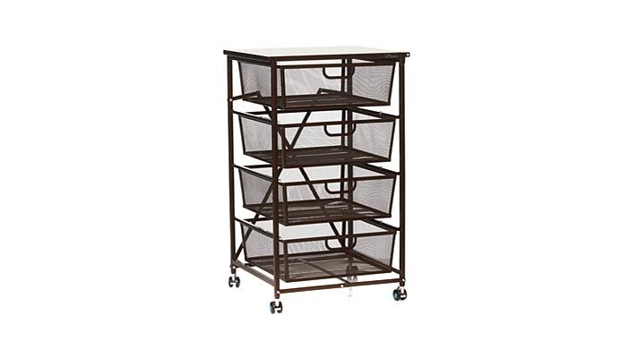 Super Deal Bamboo Rolling Storage Cart Kitchen Trolley Bakers Wine Rack W Drawers And