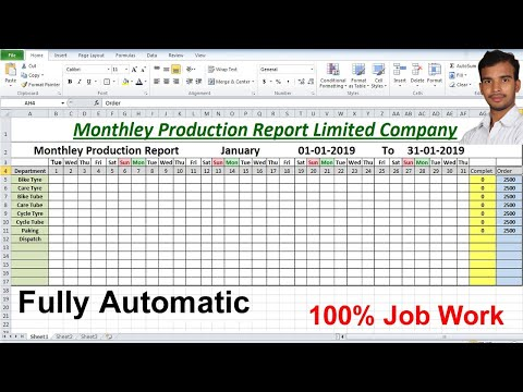 Monthly production Report Limited company For Microsoft excel Advance Formula