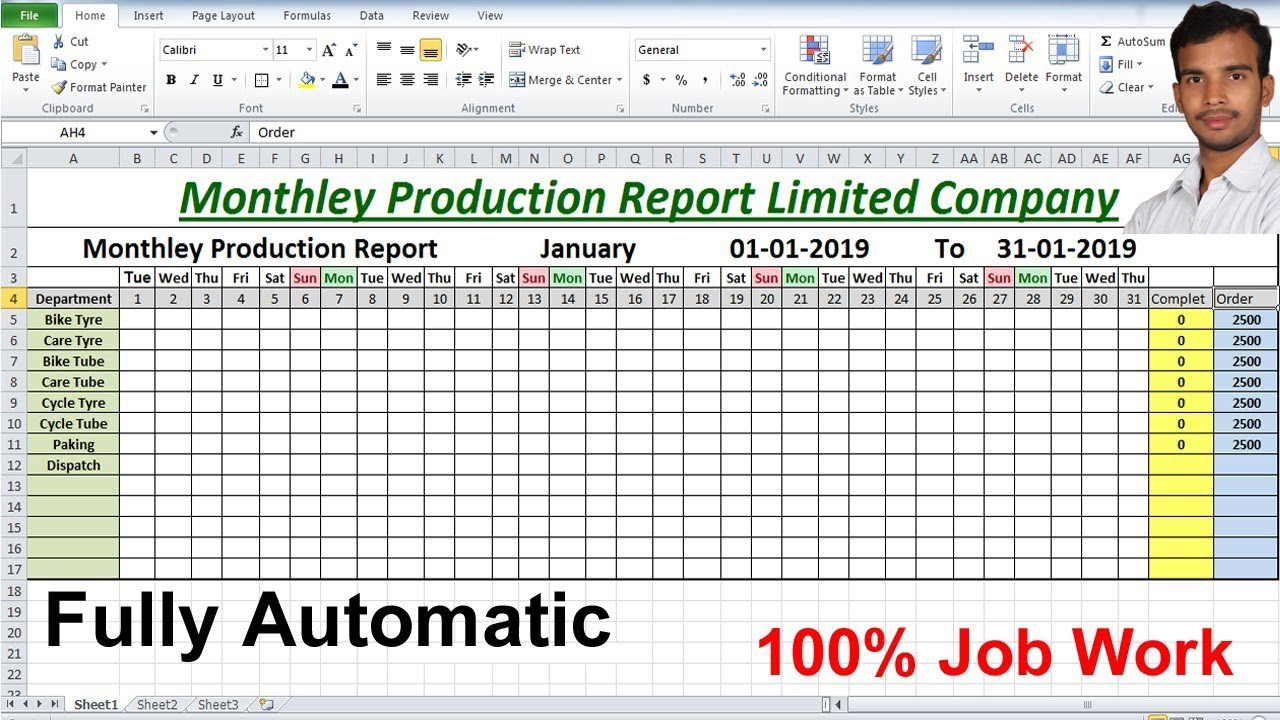 Monthly production Report Limited company For Microsoft excel Advance  Formula Inside Monthly Productivity Report Template