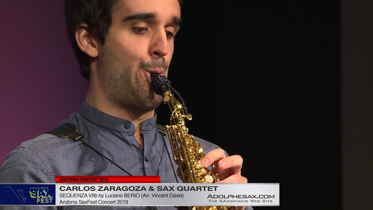 Andorra Saxfest 2019   Carlos Zaragoza   Sequenza VIIb by L  Berio Arr V  David for sax Quartet Acco