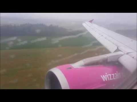 Wizzair A320 Rainy Landing in Ljubljana   28/07/15