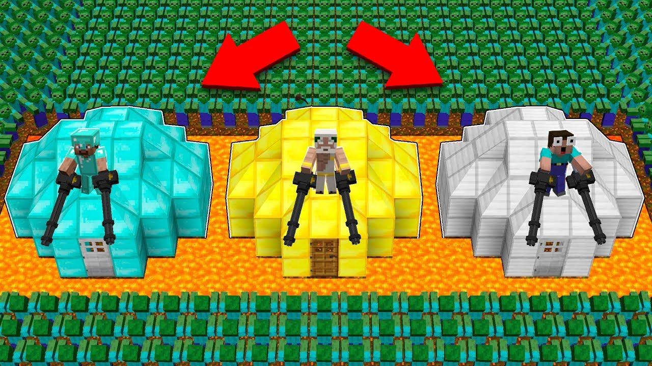 1000 ZOMBIE ARMY vs BUNKER! BATTLE BUNKER PROTECT! in Minecraft Noob vs Pro vs GOD
