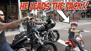 6 yr Old Leads Motorcycle Ride | A Biker is Born