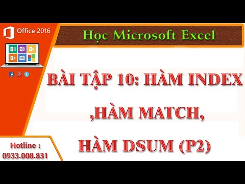 Hàm Index ,Hàm Match,Hàm Dsum (P2)