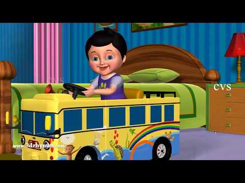 Wheels on the Bus, Car, Auto, Jeep, Truck, Tractor and Van - 3D Nursery Rhymes & Songs