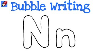 How to Draw Bubble Writing Real Easy - Letter N