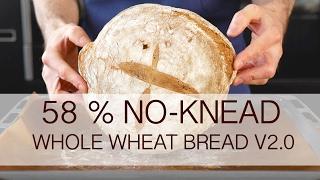 No-knead 58% whole wheat bread recipe v2.0