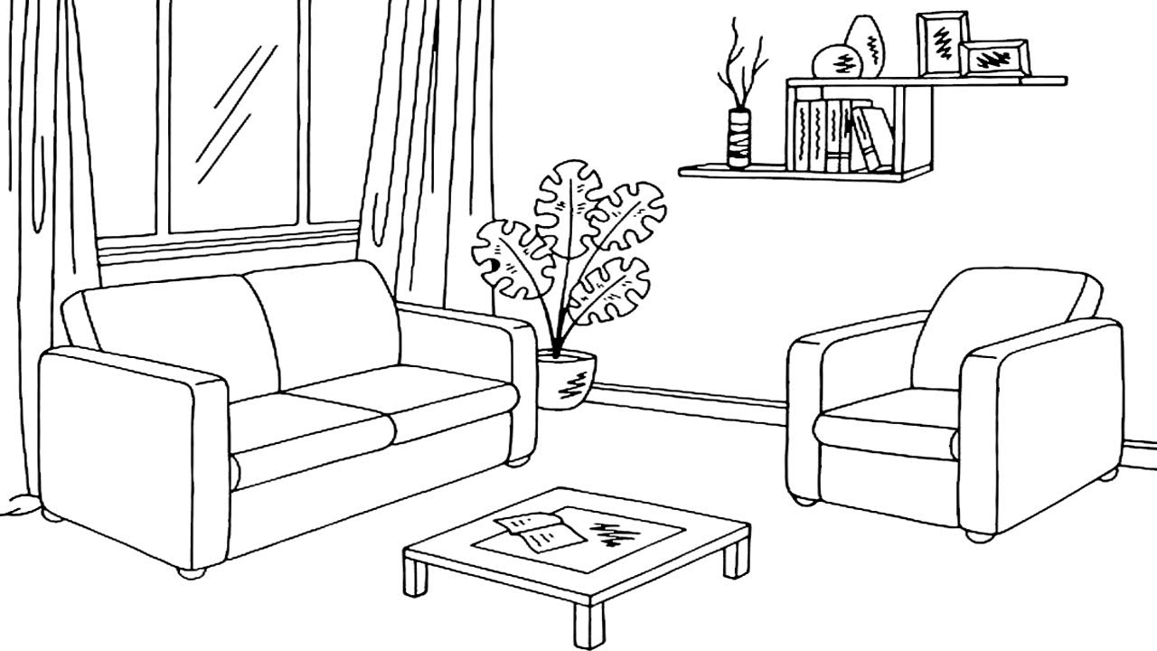 Coloring Pages-How to Draw Living Room Coloring Page for
