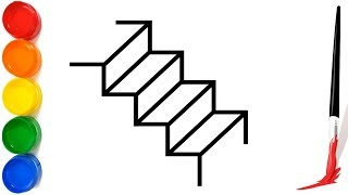 Stairs coloring and drawing for Kids   Learn Colors with Stairs   Drawing for Children