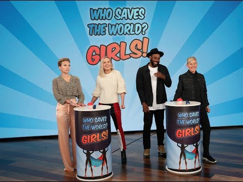 Scarlett Johansson & Brie Larson Play 'Who Saves the World? Girls'
