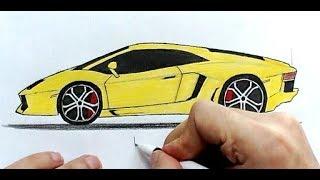 Как нарисовать машину Ламборджини поэтапно (Ehedov Elnur)How to draw a Lamborghini Step by Step