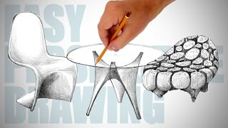 How to draw modern furniture - Easy Perspective Drawing 22