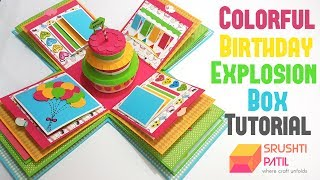 4 Layered Colorful Birthday Explosion Box Tutorial by Srushti Patil
