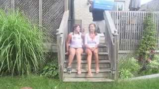 two girls one challenge and a dog