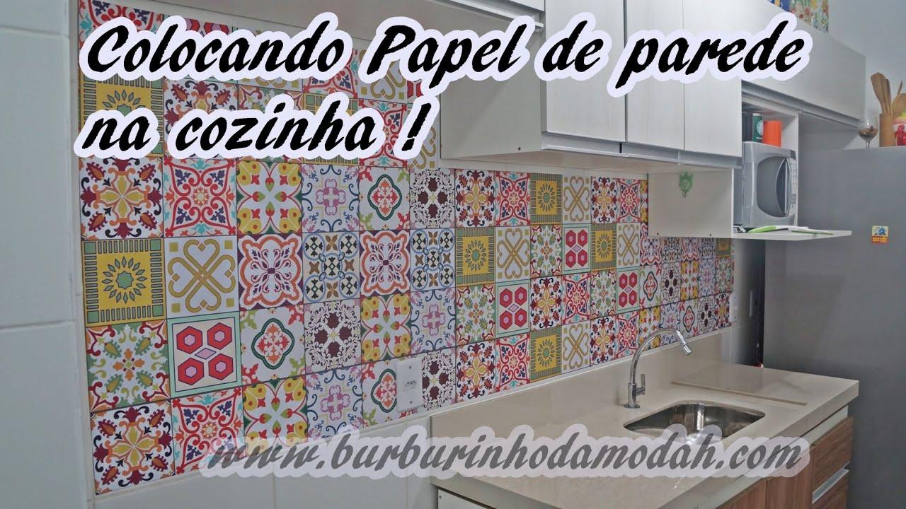 Como aplicar papel de parede na cozinha ladrilho hidraúlico  #783E3F 1910x1074