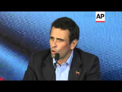 Leader of Venezuela's opposition Henrique Capriles gives news conference