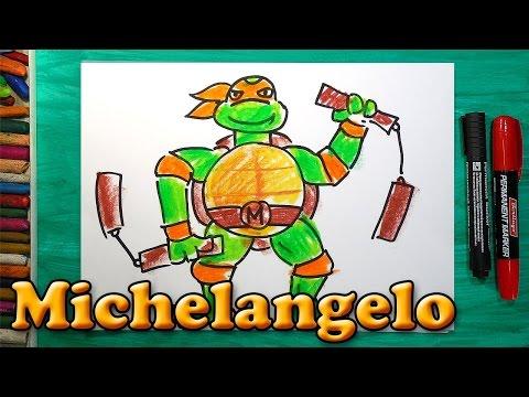 Как нарисовать Черепашку Ниндзя Микеланджело, How to draw ninja turtles Michelangelo