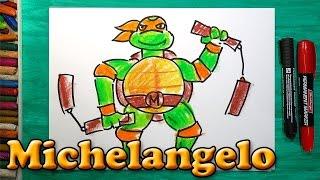 Как нарисовать Черепашку Ниндзя Микеланджело, How to draw ninja turtles Michelangelo(РыбаКит - Папа рисует: http://www.youtube.com/ribakit3 Я покажу как можно нарисовать Черепашку Ниндзя очень просто! Сегодн..., 2016-02-25T12:22:39.000Z)