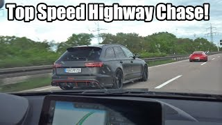 Top Speed Autobahn Chase! 750HP Audi RS6 vs 800HP Porsche 911 Turbo S vs 450HP BMW M2