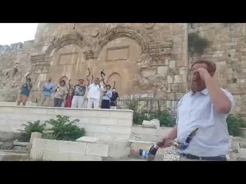Blowing Shofar At Zion Golden Gate Praying For New Era Of Israel-Arab Relationship Zachariah 9,14