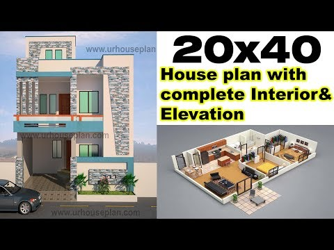 "20x40 House plan with interior & Elevation ""Complete design"""