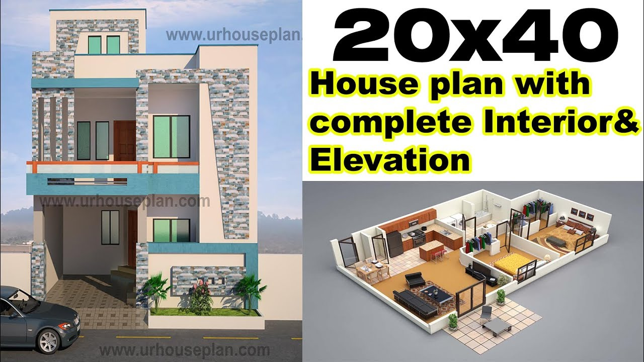 20x40 House Plan With Interior Elevation 800 Sq Ft 3