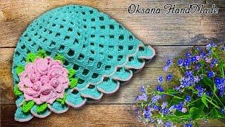 """Шапка панамка """"Весна"""". МК вязание крючком. Crochet"""