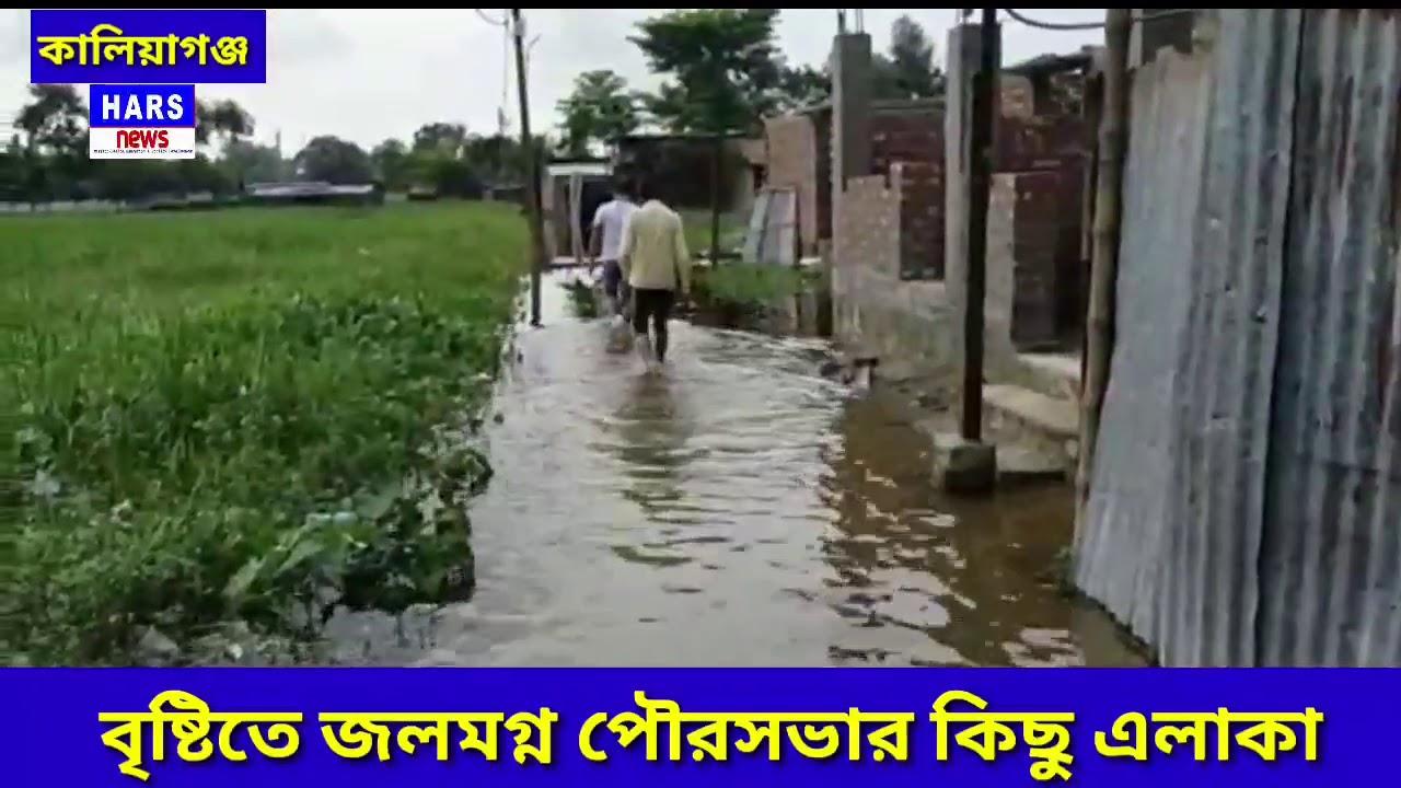 বৃষ্টিতে জলমগ্ন,Kaliyaganj  Flood in kaliyaganj  Hars News