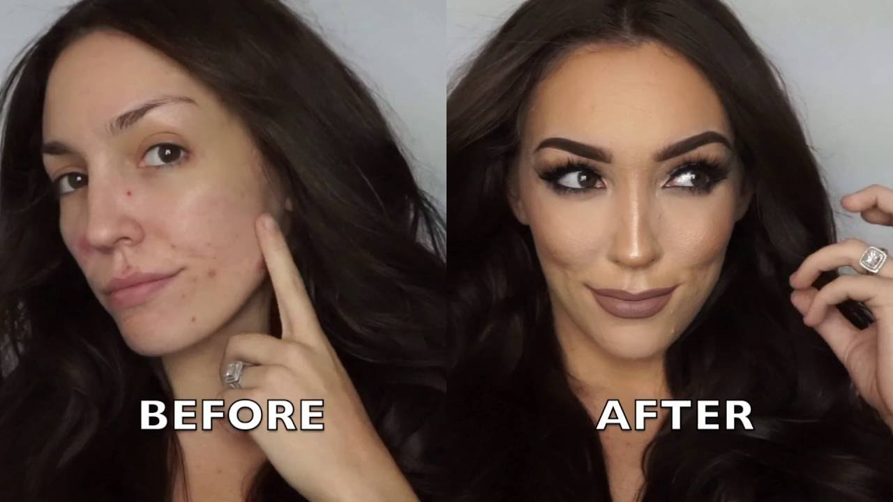 makeup transformation covering acne acne scars contour